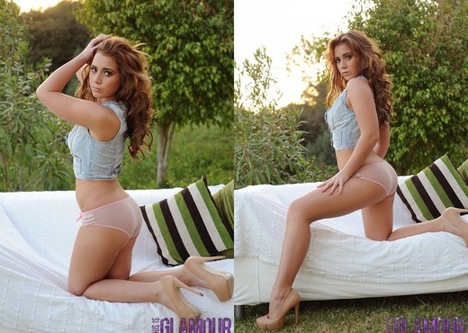 Geena Mullins teases in the garden - Solo Sexy Photo Gallery