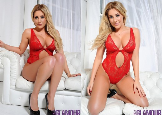 Ashley Emma teases on the white sofa in her red lingerie - Solo Picture Gallery