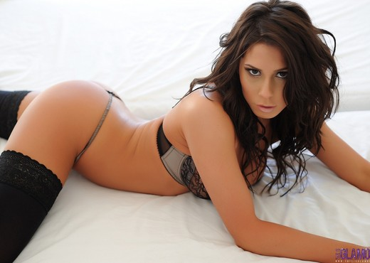 Georgie Serino teasing in black lingerie - Solo Image Gallery