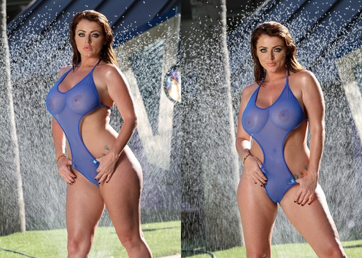 Sophie Dee - Sheer Blue Bodysuit - Solo Porn Gallery