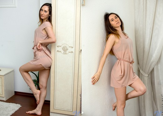 Sabrine getting naked on the bed - Teen TGP