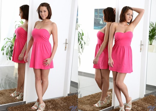 Anabella - pink dress & big teeny boobs - Teen HD Gallery