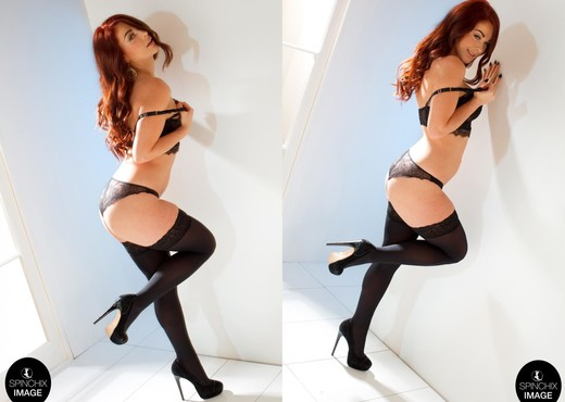 Amber White Wall Black Stockings - Spinchix - Solo Sexy Photo Gallery