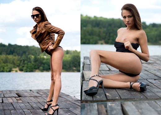 Michaela Isizzu Visits A Dock - Solo Nude Gallery