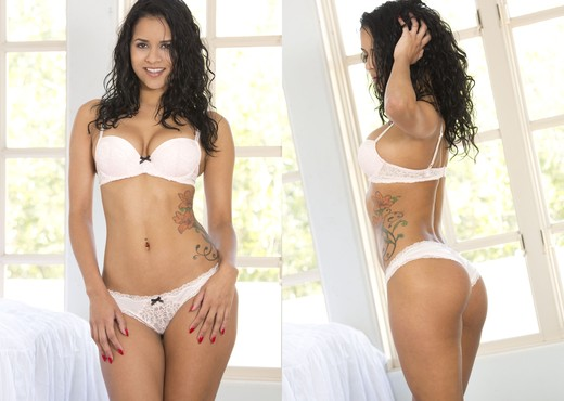 Latina Abby Lee Brazil knocks it out of the park in white lingerie and hose  1389635