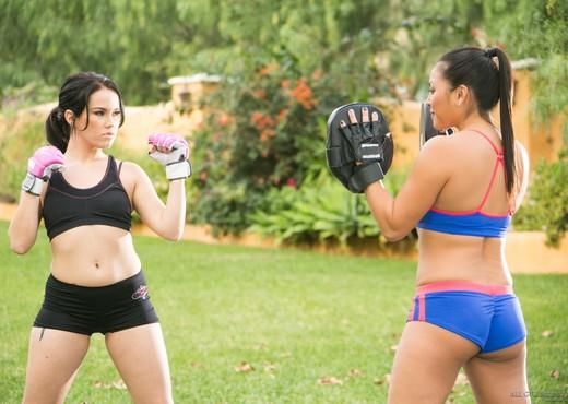 Megan Rain, Adrianna Luna - Martial Arts Accident - Lesbian Picture Gallery