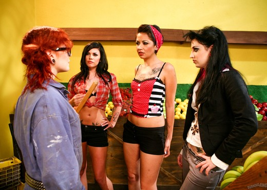 Andy San Dimas, Draven Star, Misti Dawn - Four Girls One Mop - Lesbian Sexy Photo Gallery
