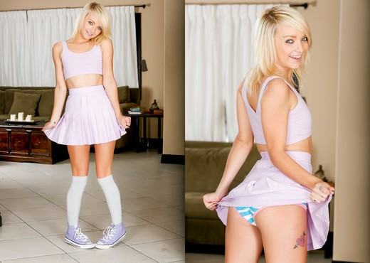 Amateur blond Carmen Callaway revealing tiny tits and bald cunt in long socks  629128
