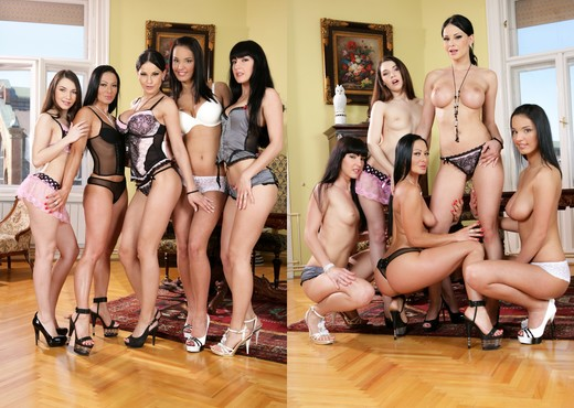 Hard Pleasure - Abbie, Stacy, Sandra, Brenda & Roxy - Lesbian Sexy Photo Gallery