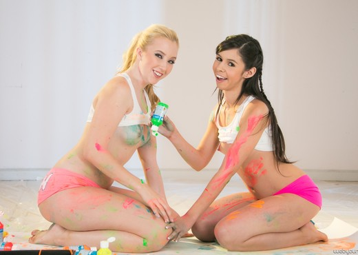 Taylor Reed, Samantha Rone - Paint Me Pink - Girlsway - Lesbian Sexy Photo Gallery