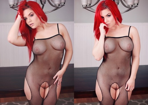 Harley poses and strips out of her body stocking - Solo Nude Pics