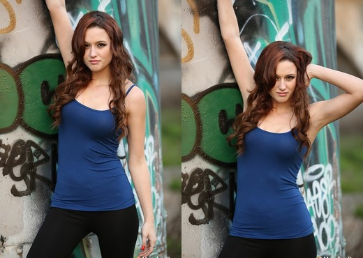 Hayden poses by graffiti - Solo Image Gallery