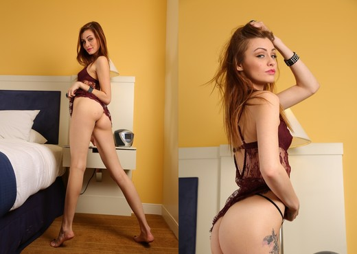 Taylor poses and teases in her burgundy lace - Solo HD Gallery