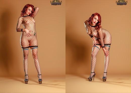 in Fishnet Bodysuit - Ariel - Art Nude Tattoos - Solo Sexy Gallery
