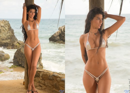Angela Diaz - long haired bikini babe on the beach - Teen Sexy Photo Gallery