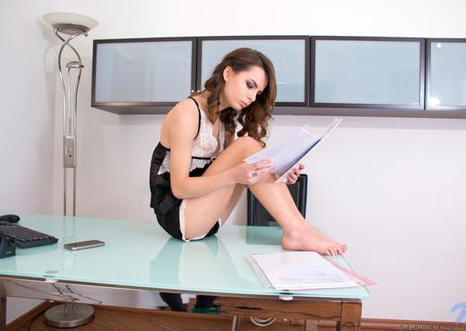 Naughty secretary Debora Alta touching her pussy - Teen Image Gallery