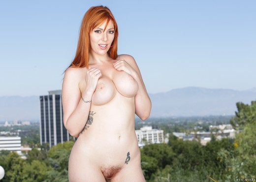 Lauren Phillips - Busty Redhead's Rack Sperm-Slopped - Interracial Image Gallery
