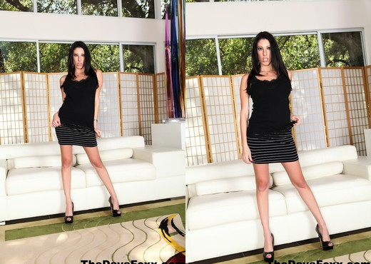 Busty Brunette Dava Foxx masturbates on the couch - Solo Sexy Photo Gallery