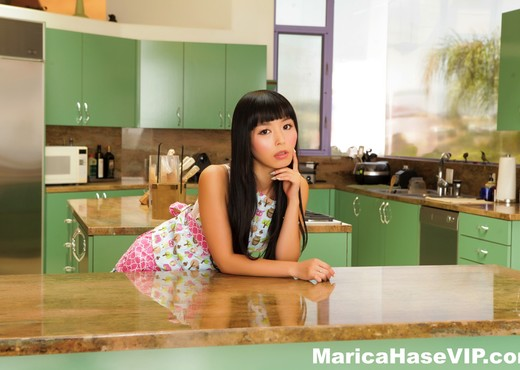 Pretty Marica Hase spreads out on the kitchen counter - Asian HD Gallery