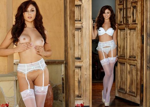 Ariana Marie - White Stockings - Solo Nude Pics