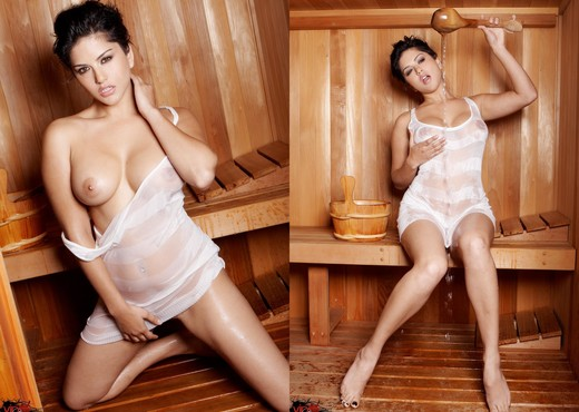 Sunny Leone - Hot Sauna - Solo Sexy Photo Gallery