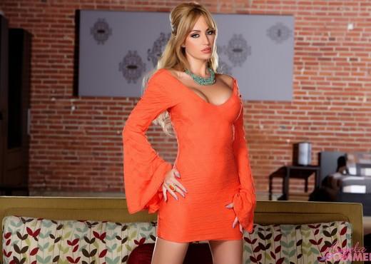 Angela Sommers - Orange Dress Strip & Spread - Solo Porn Gallery