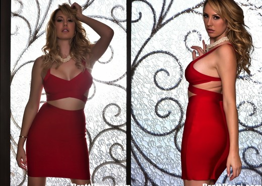 Brett takes off her red outfit - Brett Rossi - Solo Porn Gallery