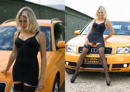 Valentina A - Yellow Car 1 - Erotic Beauty - Solo Sexy Photo Gallery