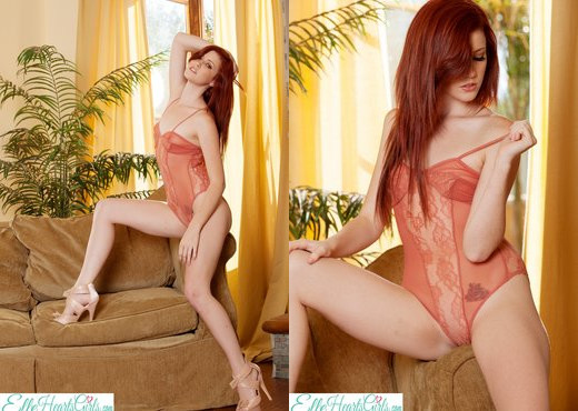 Elle Alexandra - Elle Strips From Orange Lingerie - Solo Image Gallery