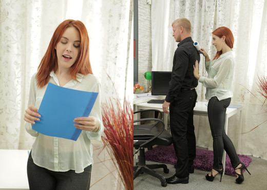 Gorgeous redhead secretary sucks the bosses cock - Blowjob Sexy Photo Gallery