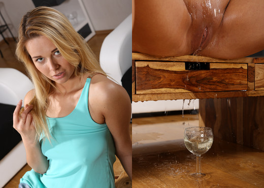 Wet and Pissy - Hot blonde fires her piss into wine glasses - Toys Nude Pics