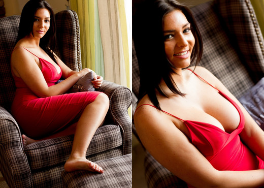 Stephanie Warren Red Dress - Hayley's Secrets - Solo Image Gallery