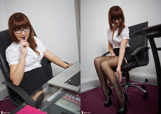 Helen G - Office Insolence - More Than Nylons - Solo Nude Pics