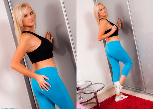 Emma B Blue Yoga Pants - Skin Tight Glamour - Solo Sexy Photo Gallery