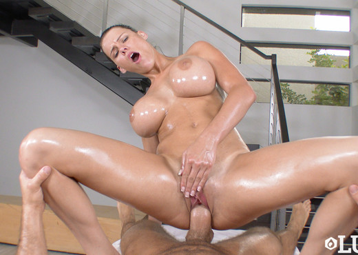 Luscious Busty Brunette Milf Gets Oiled Up And Fucked In Pov Pictures 1