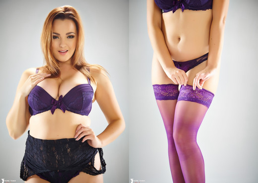 Jodie Gasson - Prancing In Purple - More Than Nylons - Solo Nude Gallery