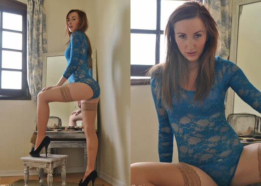 Sophia Smith - Laced Leotard - Sophia's Sexy Legwear - Solo Sexy Photo Gallery