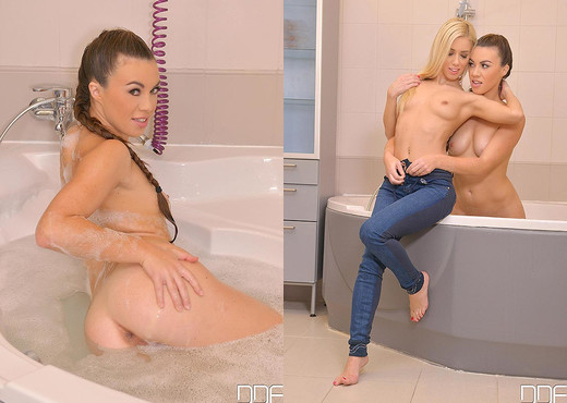 Titties in the Tub - Pussy Playing Babes in the Bath - Lesbian Hot Gallery