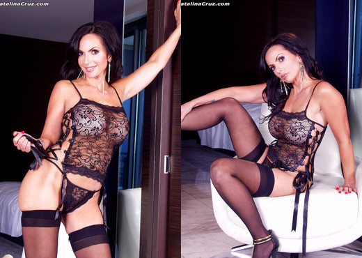 Catalina Cruz sexy black stockings and lingerie - Solo Nude Pics