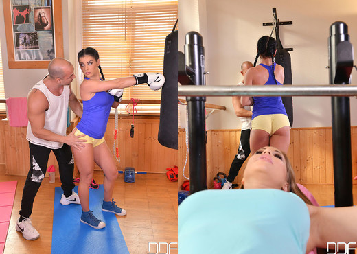 Double Ended Dildo Delights - Lesbians X-Rated Gym Routine - Lesbian TGP