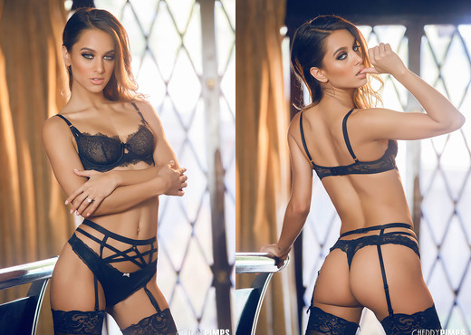 Our May Cherry is Stunning in Lingerie and Stockings - Solo Sexy Photo Gallery