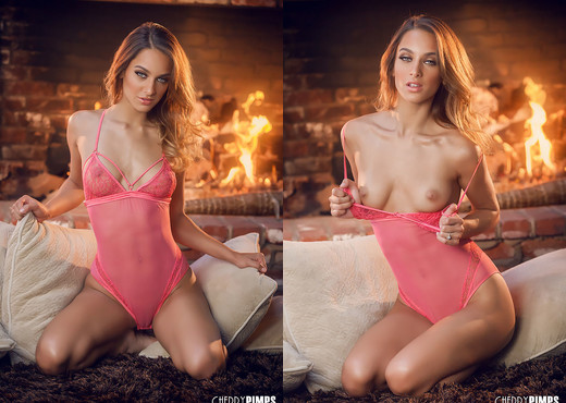 Uma Jolie Warms Her Hot Body Up For You By The Fire - Solo HD Gallery