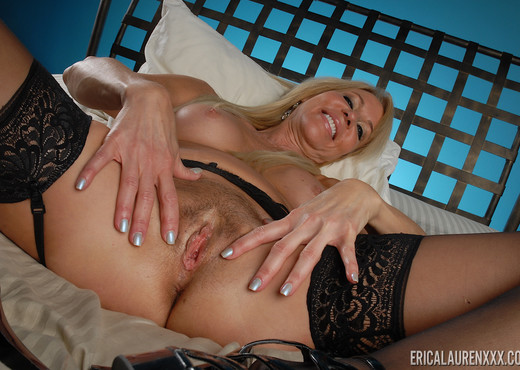 Erica Lauren in Black Stockings Play - Toys Sexy Photo Gallery