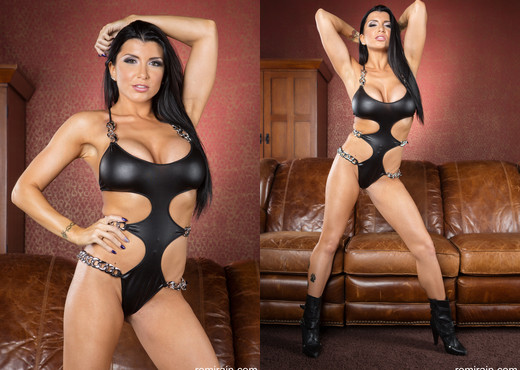Romi Rain - Leather on Leather Strip Down - Solo Nude Pics