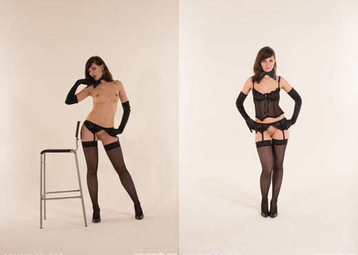 Jeny Smith art photo shoot with stockings - Solo Picture Gallery