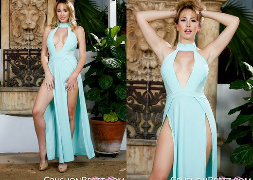 Brett Rossi gets naughty in her sexy blue dress - Solo Sexy Gallery