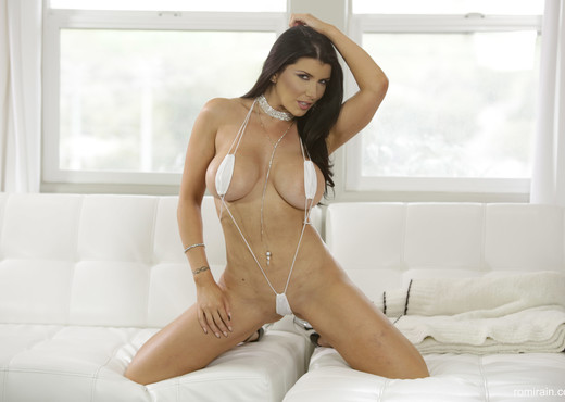 Romi Rain - Teeny White Bikini - Solo Hot Gallery
