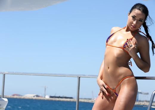 Taissia Shanti - Boat microkini tease - Solo Nude Pics