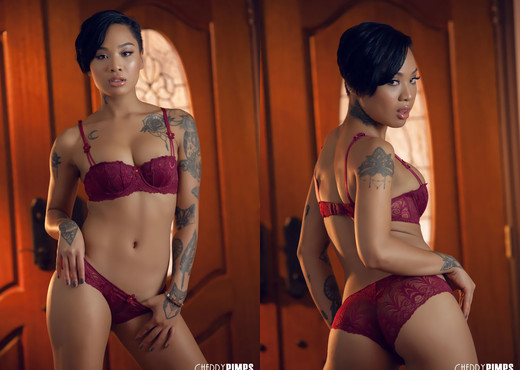 Honey Gold Is a Stunning Ebony Babe in Her Lingerie - Solo Hot Gallery