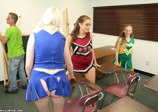 Hailey, Barbi - Cheerleader Handjob Competition - ClubTug - Hardcore Sexy Photo Gallery